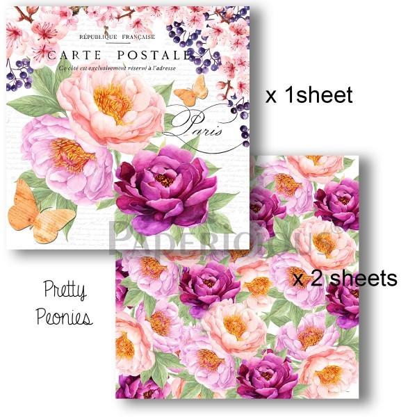 Pretty Peonies (6x6) - Decoupage Paper