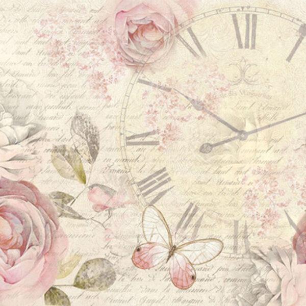 Shabby rose clock - A3