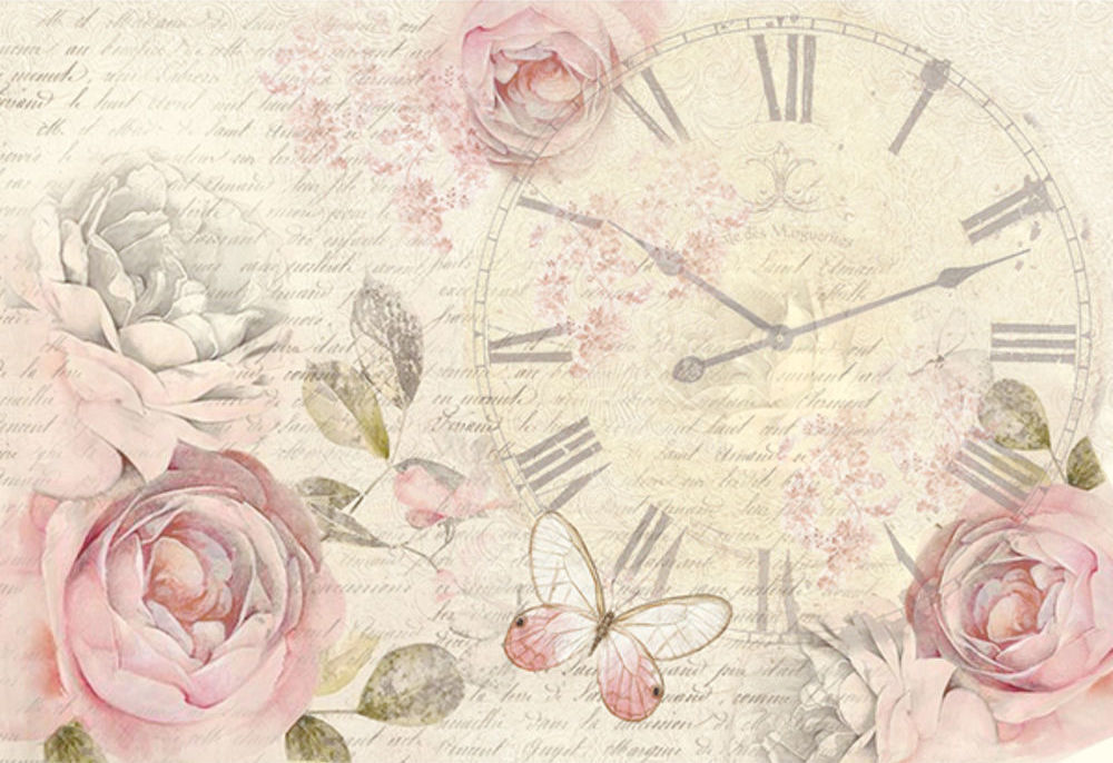 Shabby rose clock - A3