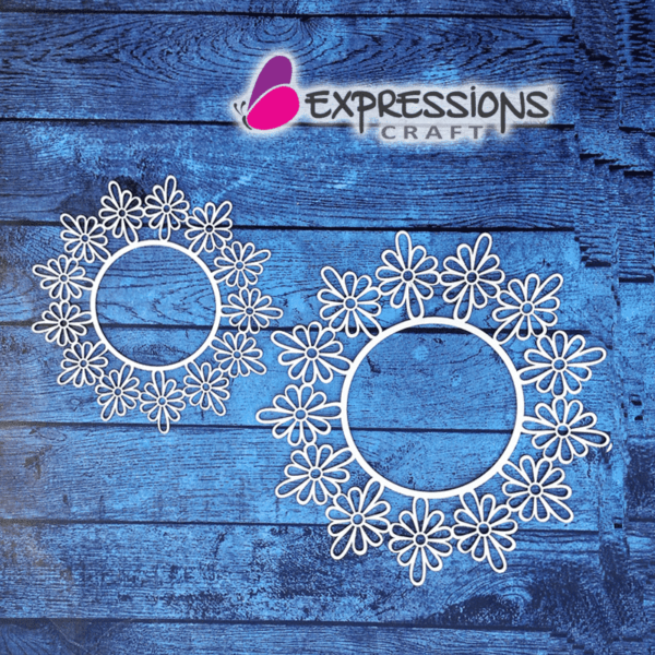 Elegant Ornamental Flower Circle Frames - Chipboard