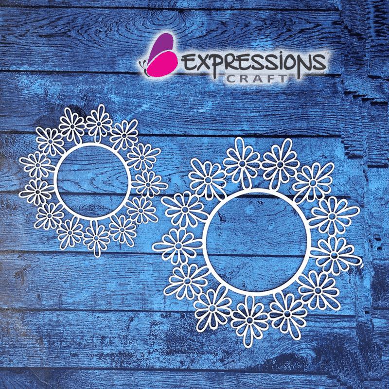 Elegant Ornamental Flower Circle Frames - Chipboard