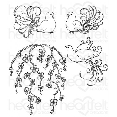 Flowering Dogwood and Doves Cling Stamp Set