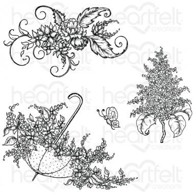 Lush Lilac & Umbrella Spray Cling Stamp Set