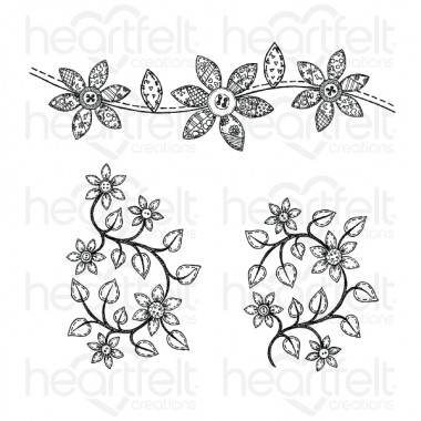 Patchwork Daisy Border Cling Stamp Set