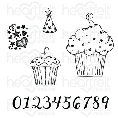 Sprinkled Confetti Cupcakes Cling Stamp Set