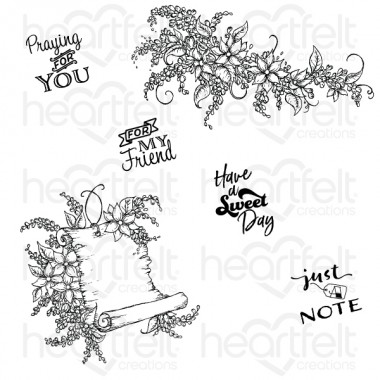 Sweet Lilac Scroll & Cage Cling Stamp Set