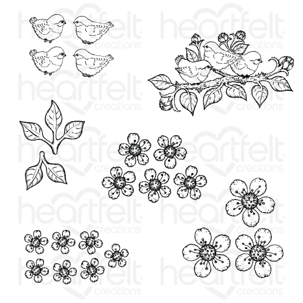 Tweet Cherry Blossoms Cling Stamp Set